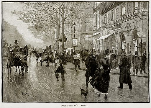 Boulevard des Italiens. Illustration from Old and New Paris by H Sutherland Edwards (Cassell, 1893).