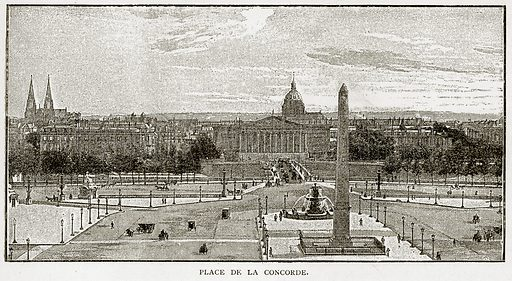 Place de la Concorde. Illustration from Old and New Paris by H Sutherland Edwards (Cassell, 1893).