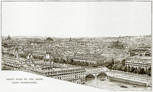 Right Bank of the Seine, from Notre-Dame. Illustration from Old and New Paris by H Sutherland Edwards (Cassell, 1893).