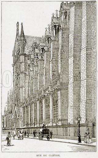 Rue du Cloitre. Illustration from Old and New Paris by H Sutherland Edwards (Cassell, 1893).
