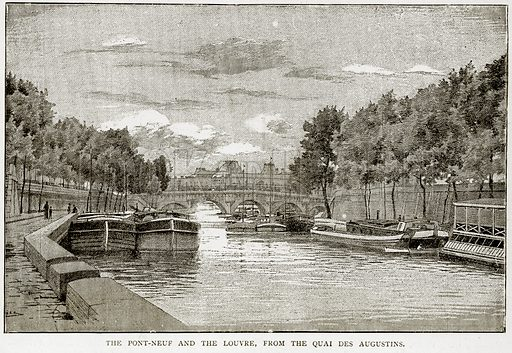 The Pont-Neuf and the Louvre, from the Quai des Augustins. Illustration from Old and New Paris by H Sutherland Edwards (Cassell, 1893).