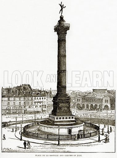 Place de la Bastille and Column of July. Illustration from Old and New Paris by H Sutherland Edwards (Cassell, 1893).