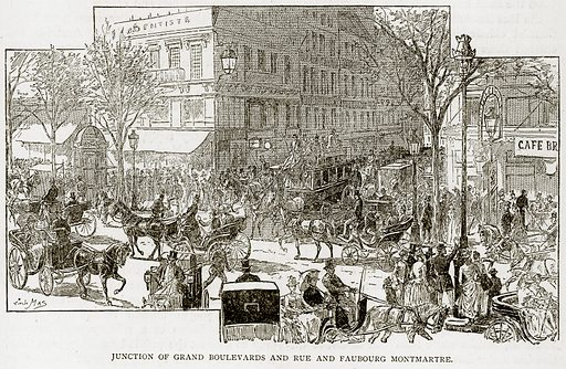 Junction of Grand Boulevatds and Rue and Faubourg Montmartre. Illustration from Old and New Paris by H Sutherland Edwards (Cassell, 1893).