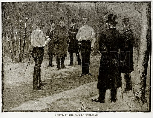 A Duel in the Bois de Boulogne. Illustration from Old and New Paris by H Sutherland Edwards (Cassell, 1893).