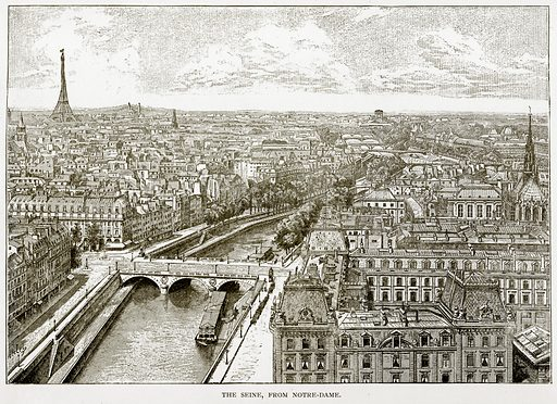The Seine, from Notre-Dame. Illustration from Old and New Paris by H Sutherland Edwards (Cassell, 1893).