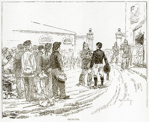 Recruits. Illustration from Old and New Paris by H Sutherland Edwards (Cassell, 1893).