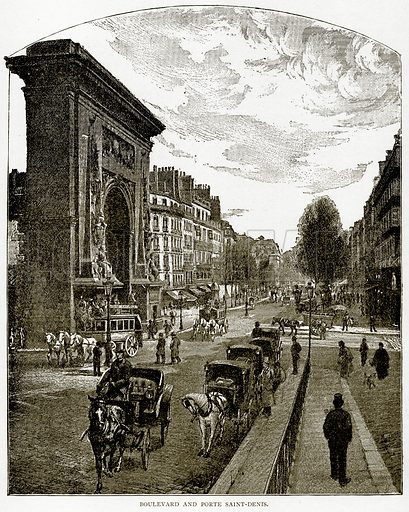 Boulevard and Porte Saint-Denis. Illustration from Old and New Paris by H Sutherland Edwards (Cassell, 1893).