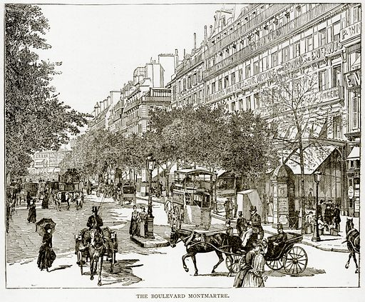 The Boulevard Montmartre. Illustration from Old and New Paris by H Sutherland Edwards (Cassell, 1893).