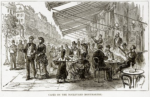Cafes on the Boulevard Montmartre. Illustration from Old and New Paris by H Sutherland Edwards (Cassell, 1893).