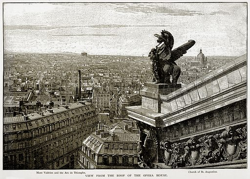 View from the Roof of the Opera House. Mont Valerien and the Arc de Triomphe. Church of St. Augustine. Illustration from Old and New Paris by H Sutherland Edwards (Cassell, 1893).