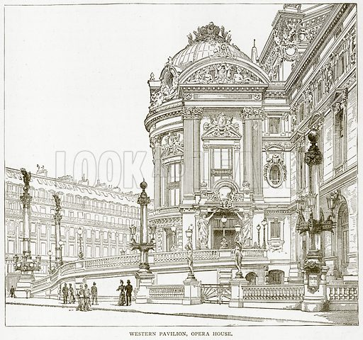 Western Pavilion, Opera House. Illustration from Old and New Paris by H Sutherland Edwards (Cassell, 1893).