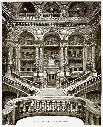 The Staircase of the Opera House. Illustration from Old and New Paris by H Sutherland Edwards (Cassell, 1893).