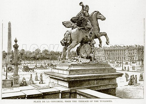 Place de la Concorde, from the Terrace of the Tuileries. Illustration from Old and New Paris by H Sutherland Edwards (Cassell, 1893).