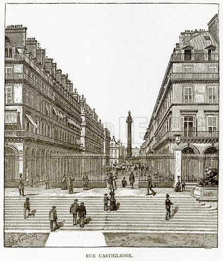 Rue Castiglione. Illustration from Old and New Paris by H Sutherland Edwards (Cassell, 1893).
