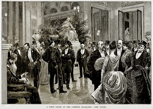 A first night at the Comedie Francaise.--The Foyer. Illustration from Old and New Paris by H Sutherland Edwards (Cassell, 1893).