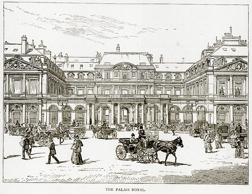 The Palais Royal. Illustration from Old and New Paris by H Sutherland Edwards (Cassell, 1893).