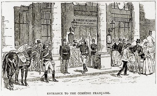 Entrance to the Comedie Francaise. Illustration from Old and New Paris by H Sutherland Edwards (Cassell, 1893).