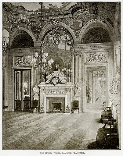 The Public Foyer, Comedie Francaise. Illustration from Old and New Paris by H Sutherland Edwards (Cassell, 1893).