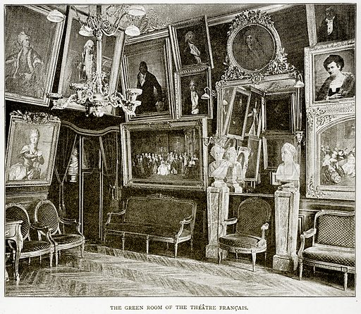 The Green Room of the Theatre Francais. Illustration from Old and New Paris by H Sutherland Edwards (Cassell, 1893).