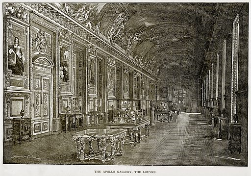 The Apollo Gallery, the Louvre. Illustration from Old and New Paris by H Sutherland Edwards (Cassell, 1893).