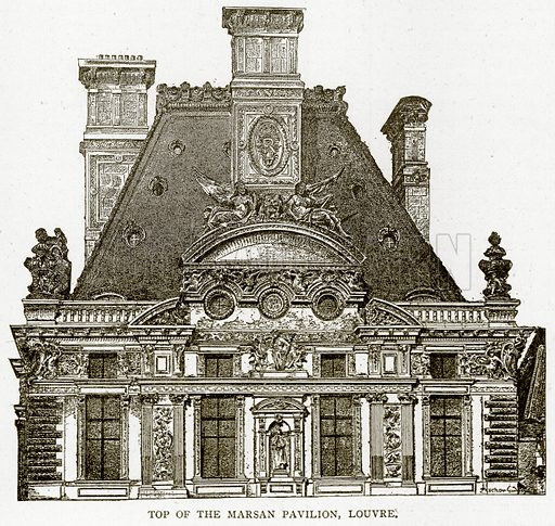 Top of the Marsan Pavilion, Louvre. Illustration from Old and New Paris by H Sutherland Edwards (Cassell, 1893).