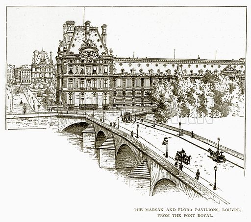 The Marsan and Flora Pavilions, Louvre, from the Pont Royal. Illustration from Old and New Paris by H Sutherland Edwards (Cassell, 1893).