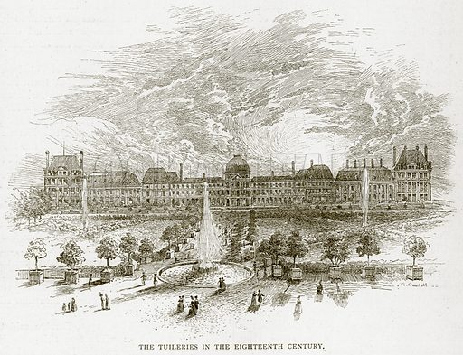 The Tuileries in the Eighteenth Century. Illustration from Old and New Paris by H Sutherland Edwards (Cassell, 1893).