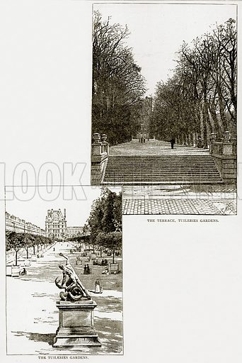 The Terrace, Tuileries Gardens. The Tuileries Gardens. Illustration from Old and New Paris by H Sutherland Edwards (Cassell, 1893).