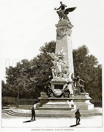 Monument to Gambetta, Place du Carrousel. Illustration from Old and New Paris by H Sutherland Edwards (Cassell, 1893).