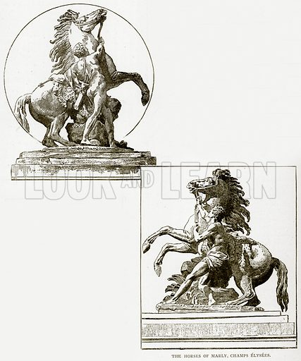 The Horses of Marly, Champs Elysees. Illustration from Old and New Paris by H Sutherland Edwards (Cassell, 1893).