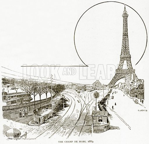 The Champ de Mars, 1889. Illustration from Old and New Paris by H Sutherland Edwards (Cassell, 1893).