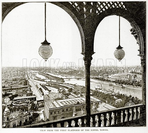 View from the First Platform of the Eiffel Tower. Illustration from Old and New Paris by H Sutherland Edwards (Cassell, 1893).