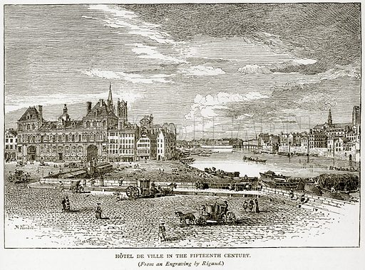 Hotel de Ville in the Fifteenth Century. Illustration from Old and New Paris by H Sutherland Edwards (Cassell, 1893).