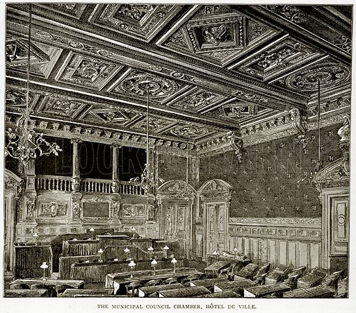 The Municipal Council Chamber, Hotel de Ville. Illustration from Old and New Paris by H Sutherland Edwards (Cassell, 1893).