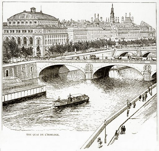 The Qual de L'Horloge. Illustration from Old and New Paris by H Sutherland Edwards (Cassell, 1893).