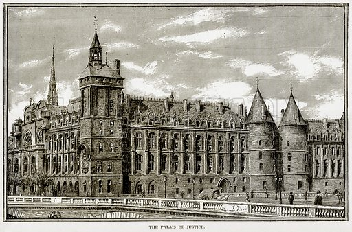 The Palais de Justice. Illustration from Old and New Paris by H Sutherland Edwards (Cassell, 1893).