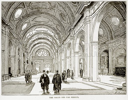The Salle des Pas Perdus. Illustration from Old and New Paris by H Sutherland Edwards (Cassell, 1893).