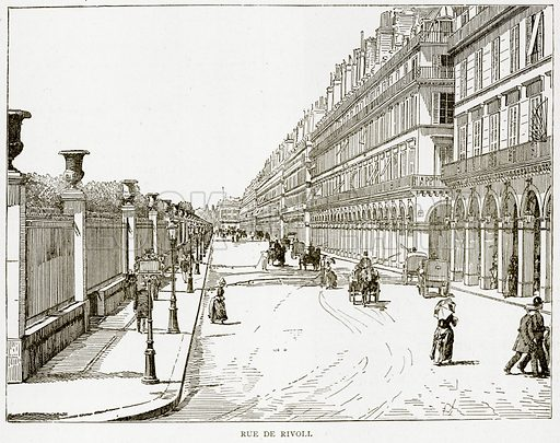 Rue de Rivoli. Illustration from Old and New Paris by H Sutherland Edwards (Cassell, 1893).