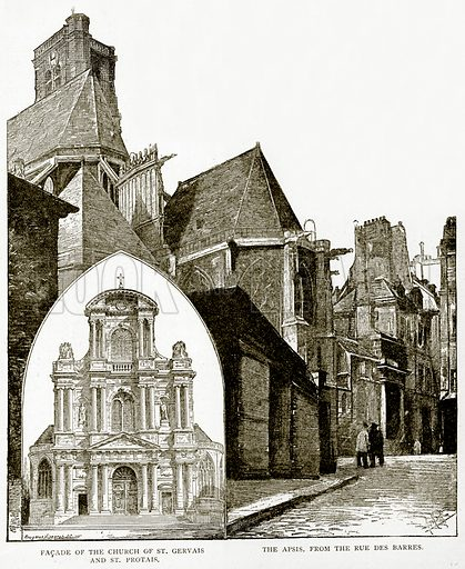 Facade of the Church of St Gervais and St Protais. The Apsis, from the Rue des Barres. Illustration from Old and New Paris by H Sutherland Edwards (Cassell, 1893).