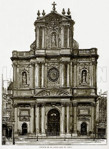Church of St. Louis and St. Paul. Illustration from Old and New Paris by H Sutherland Edwards (Cassell, 1893).