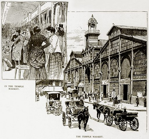 In the Temple Market. The Temple Market. Illustration from Old and New Paris by H Sutherland Edwards (Cassell, 1893).