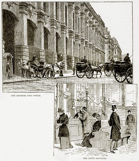 The General Post Office. The Poste Restante. Illustration from Old and New Paris by H Sutherland Edwards (Cassell, 1893).
