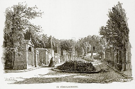 In Pere-Lachaise. Illustration from Old and New Paris by H Sutherland Edwards (Cassell, 1893).