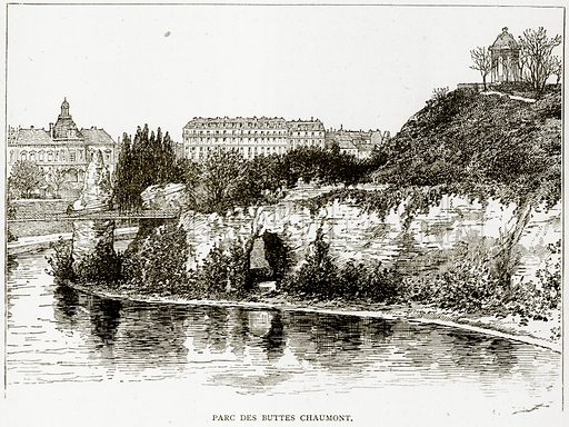 Parc des Buttes Chaumont. Illustration from Old and New Paris by H Sutherland Edwards (Cassell, 1893).