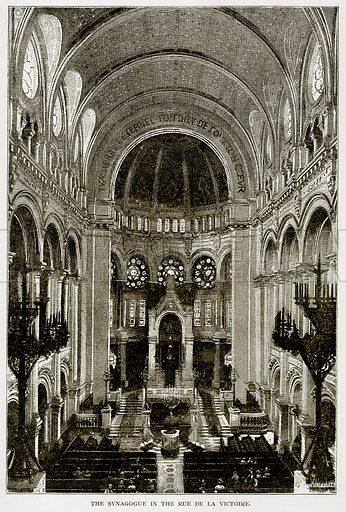 The Synagogue in the Rue de la Victoire. Illustration from Old and New Paris by H Sutherland Edwards (Cassell, 1893).