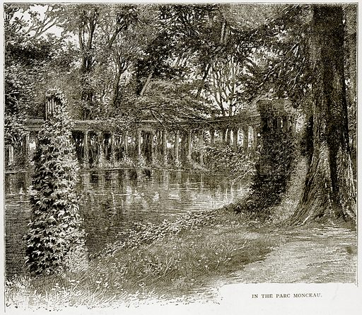 In the Parc Monceau. Illustration from Old and New Paris by H Sutherland Edwards (Cassell, 1893).