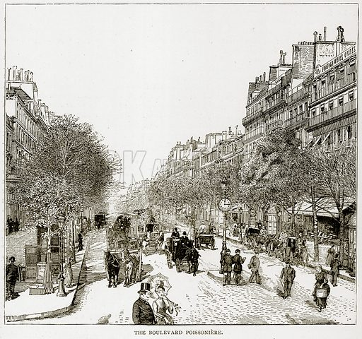 The Boulevard Poissoniere. Illustration from Old and New Paris by H Sutherland Edwards (Cassell, 1893).
