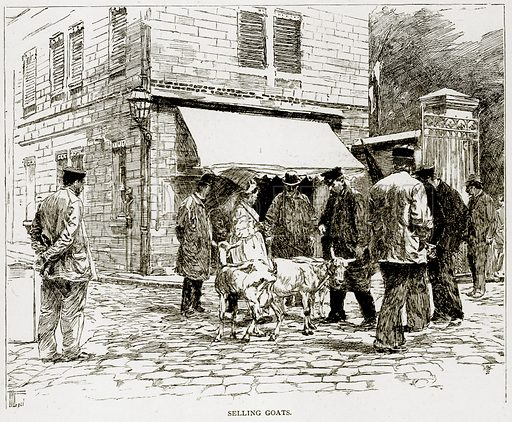 Selling Goats. Illustration from Old and New Paris by H Sutherland Edwards (Cassell, 1893).