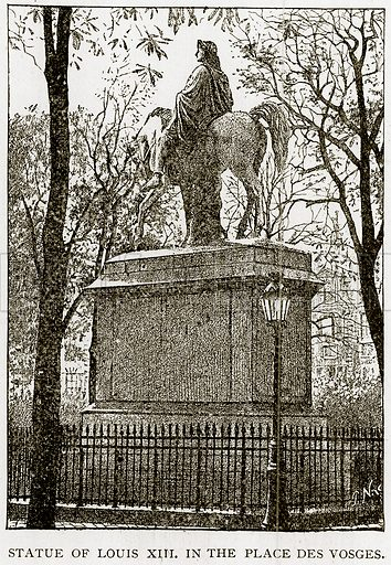 Statue of Louis XIII. in the Place des Vosges. Illustration from Old and New Paris by H Sutherland Edwards (Cassell, 1893).