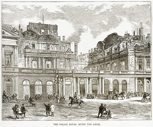 The Palais Royal after the Siege. Illustration from Old and New Paris by H Sutherland Edwards (Cassell, 1893).